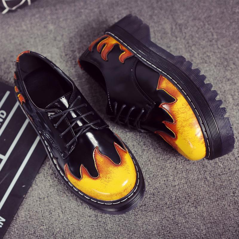 British Street Style Retro Lace up Flame Color Low Martin Shoe Women Thick Bottom Woman Shoes Punk Woman Shoes 35-40