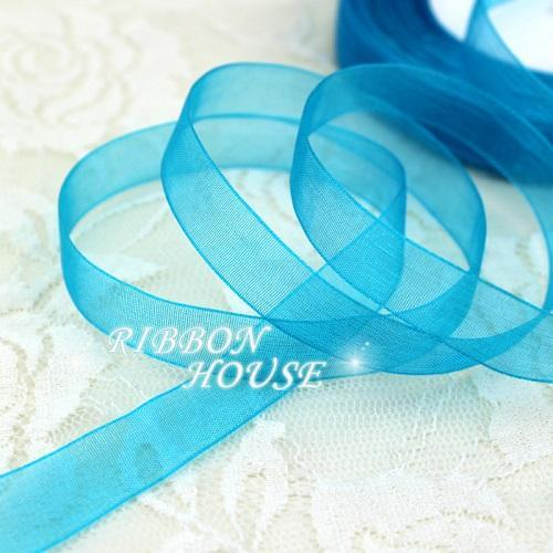 - (50 yards/roll) 1/2''(12mm) organza ribbons wholesale gift wrapping decoration Christmas ribbons - Lake Blue  jetcube
