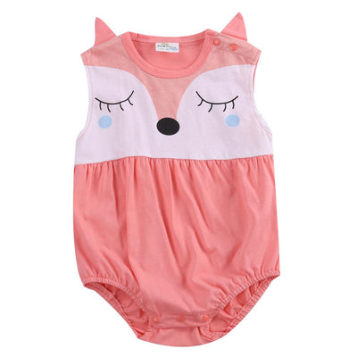 - 0-24M Newborn Baby Clothes Cute Cartoon Fox Bodysuit Summer Sleeveless Infant Kids Baby Body Clothes Onesies Bodysuits - Watermelon Red / 10-12 months  jetcube