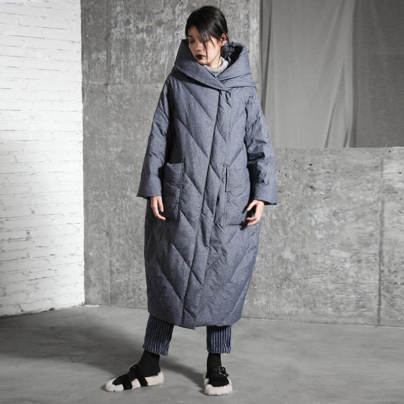 - -30 Degrees Keep Warm!Winter Long Quilted Coat Women Zipper Hooded Ultra Long Down Jacket Women's Thickening Fashion Down Parkas -   jetcube