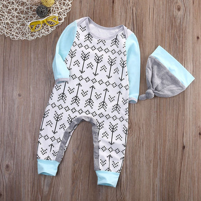 - 0-18M Newborn Baby Boys Girls Clothes Long Sleeve Arrows Cotton Romper + Hat 2pcs Bebes Clothing -   jetcube
