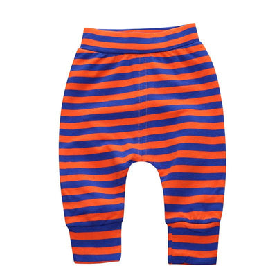 - 0-2 T PP Baby pants Boy trousers Striped printed children trousers harem pants Can open the children's pants Autumn/Spring - Boy Shorts 3 / 12M  jetcube