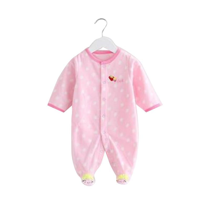 - 0-12M Autumn Fleece Baby Rompers Cute Pink Baby Girl Boy Clothing Infant Baby Girl Clothes Jumpsuits Footed Coverall V20C - MKBCROGL001P46 / 12M  jetcube