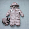 0-2 years old baby winter down jumpsuit Down climb clothes with cap Snowflakes stripe splicing  UpCube- upcube