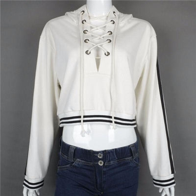 2016 New Fashion Hoodies for Women Harajuku Sexy Women Crop Top Laces Neckline Long Sleeve Sweatshirt Casual Pullover Tops