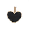 - 10 Pcs/lot 6.8*5.5*0.2cm Mini Cute heart Kawaii Wooden Blackboard Chalkboards Clips Holder For Paper Decoration Photo - Black  jetcube