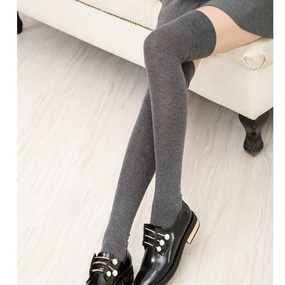 - 10 Solid Colors Long sexy Stockings Female Warm Thigh High Over the Knee Cotton Girls Ladies Women winter -   jetcube