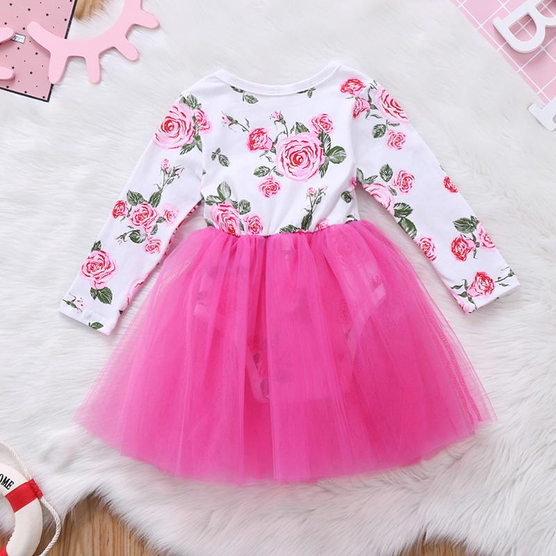 - 0-18M Lovely Newborn Baby Dress Long Sleeve Floral Romper Patchwork Tutu Princess Girls Dresses One Pieces Outfits Kids Clothes -   jetcube