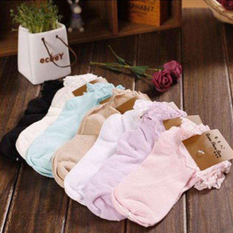 - 1 Pair 7 Colors Princess Girl Cute Sweet Women Ladies Vintage Lace Ruffle Frilly Ankle Socks CB -   jetcube