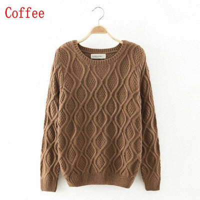 - 12 Color ! Hot New Autumn Winter Women Fashion Cotton Elastic Sweater Lady Knitted Long Sleeve O-neck Woolen Pullovers - 012Coffee / L  jetcube