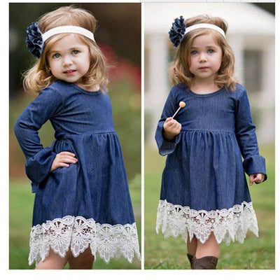 - 2-14Y Girl Evening Dress Baby Girls Lace Princess Dress Children Clothes Kids Long Sleeve Denim Party Dresses Autumn Winter -   jetcube