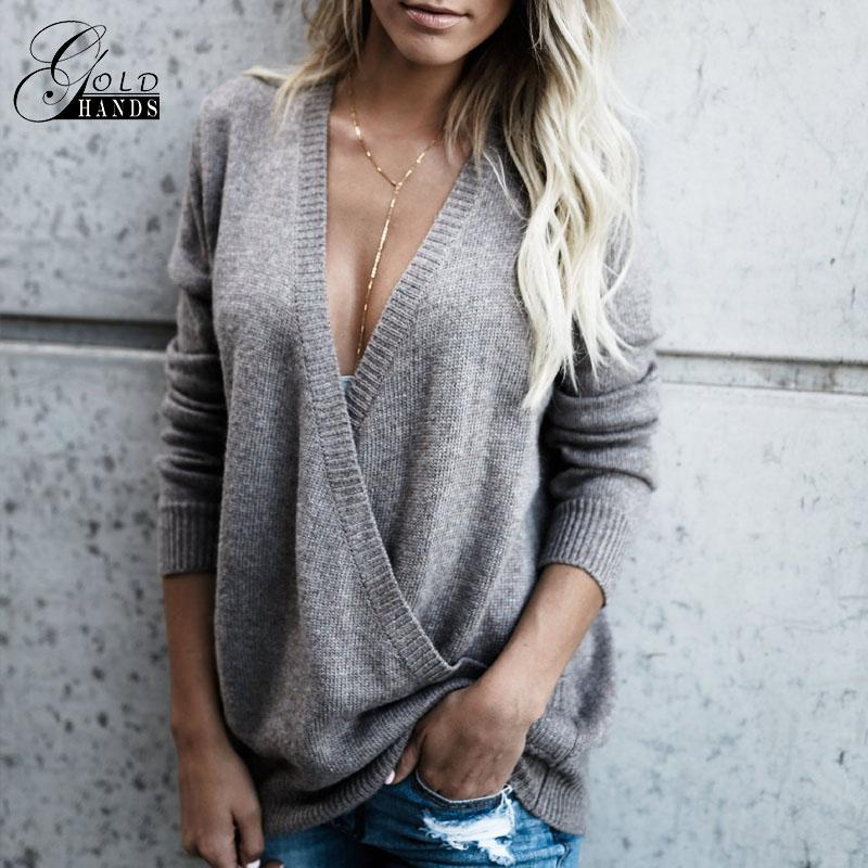 Gold Hands Sexy Women Deep V Sweater Female Full Sleeve Knitted Hollow Out Tops Fashion West Coast Wrap Front Sweat Pullovers