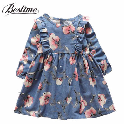 - 2-6y Autumn Girls Clothing 2017 Fall Girl Dress Ruffles Floral Children Dress Cotton Long Sleeve Kids Dresses Cute Girl Clothes -   jetcube