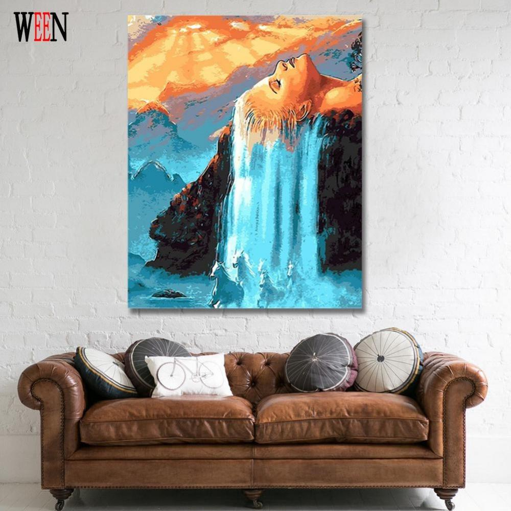 Hair Waterfall Picture By Numbers On Wall Acrylic Amazing Canvas ...