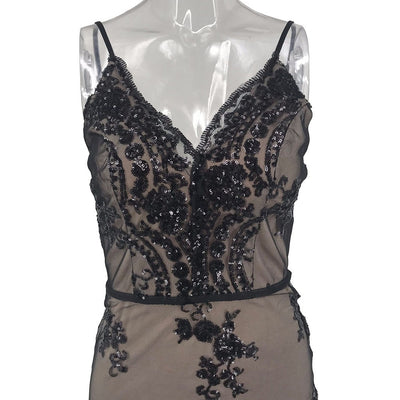 38# Women Dress Fashion Sexy Woman Sequin Lace Deep V Cuff Sleeveless Vest Skinny Backless Party Flapper Dress