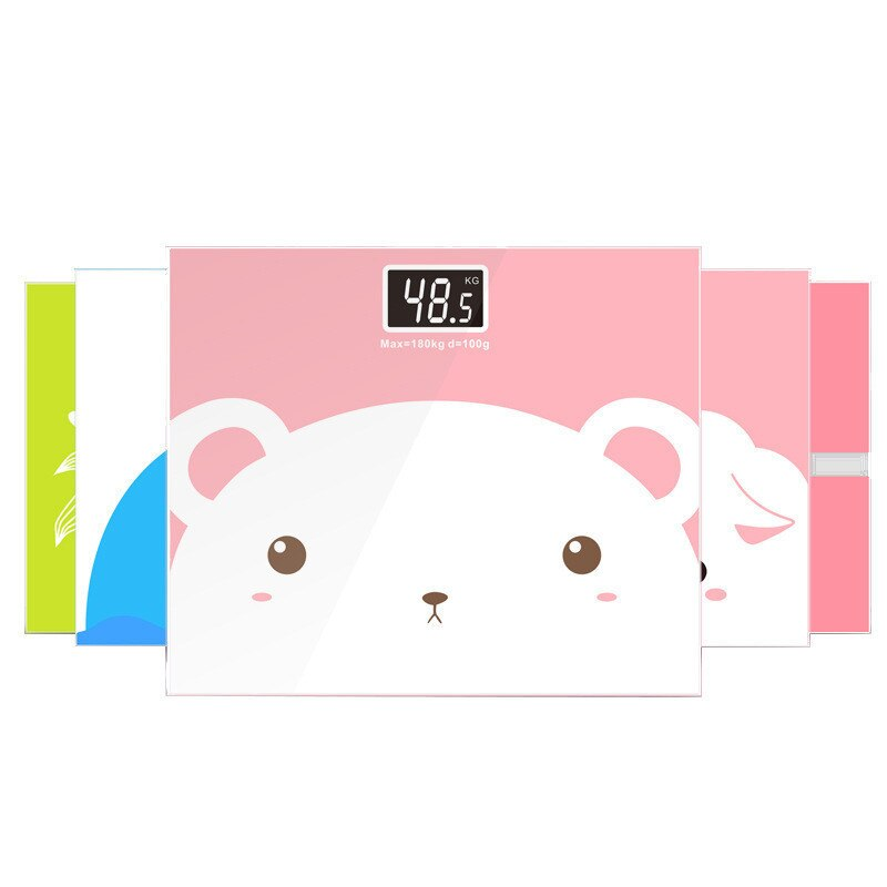 50g-180Kg Cute Bathroom Body Scales Toughened Glass LCD Display Floor Smart Electric Digital Weight Health Balance Scale