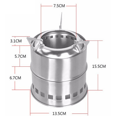 1 Pc Stove Portable 3-Arm Support Stainless Steel Stove for Camping Travel