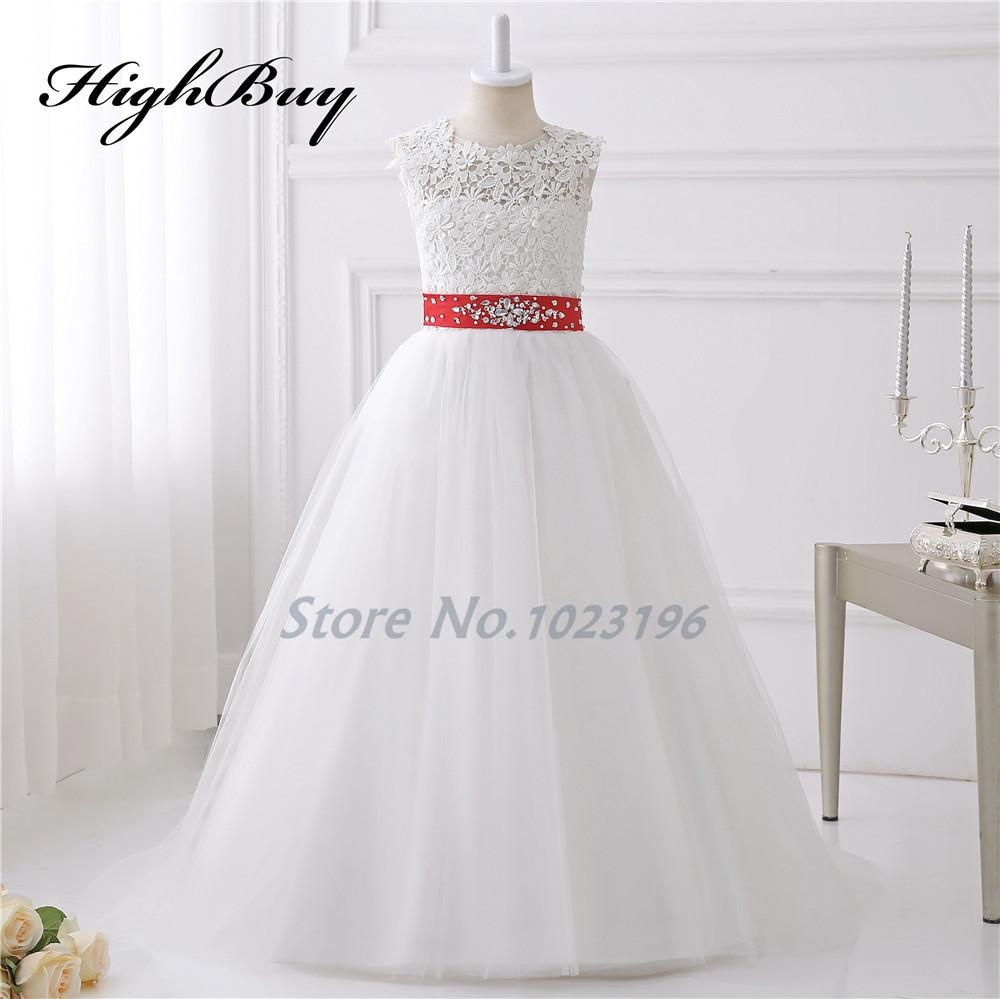 Highbuy 2017 Hot Pretty Ivory White Appliques Tulle Beads Red Sash