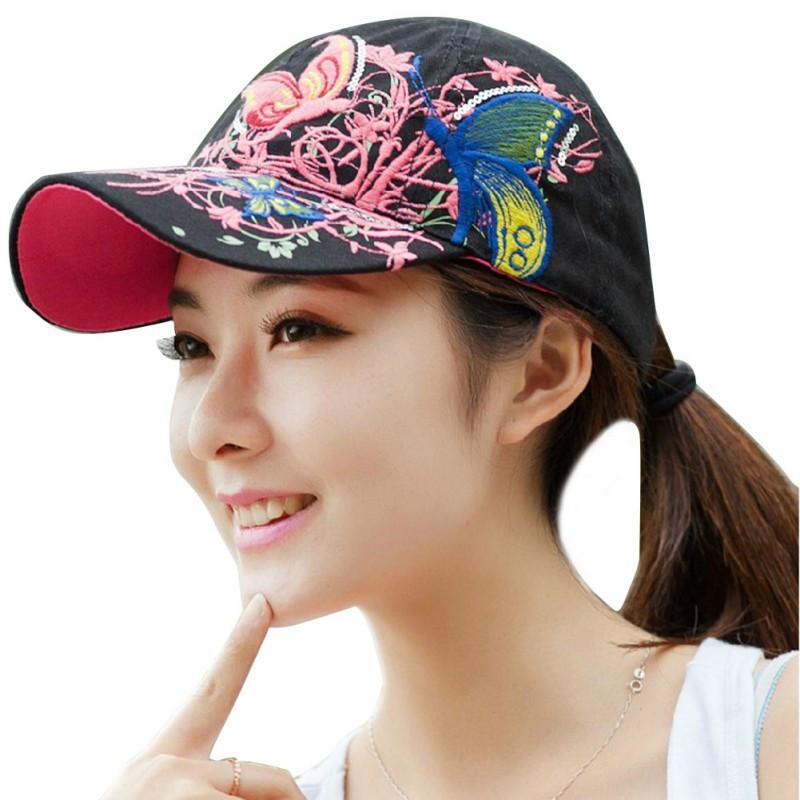 Hot Summer Women Lady Flowers Printed Butterfly Embroidered Golf Hat Adjustable Baseball Cap