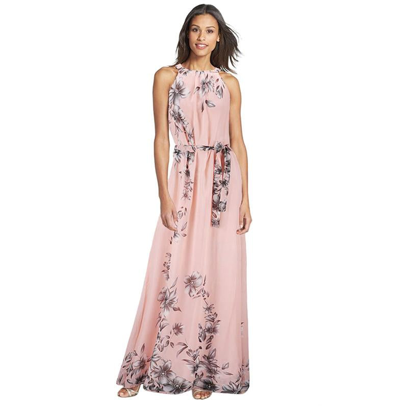 Hot Summer Women Long Dress O Neck Floral Print Chiffon Maxi Dress Elegant Casual Boho Party Dresses With Belt