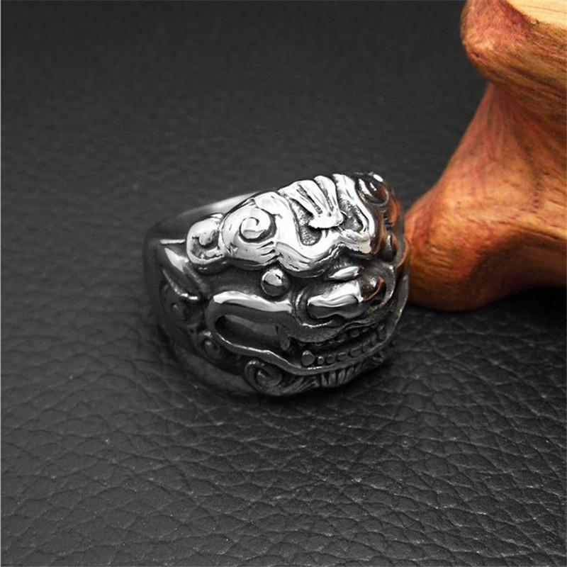 Hot Vintage Mens Chinese Lion Head Animal Ring Stainless Steel Ethnic Rings For Men Cool Rock Punk Jewelry Male Goth Anel R660