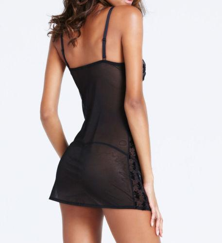 Hot sale Ann Summers Womens Adele Chemise Black Hot Sexy Erotic Seductive Lingerie KBX