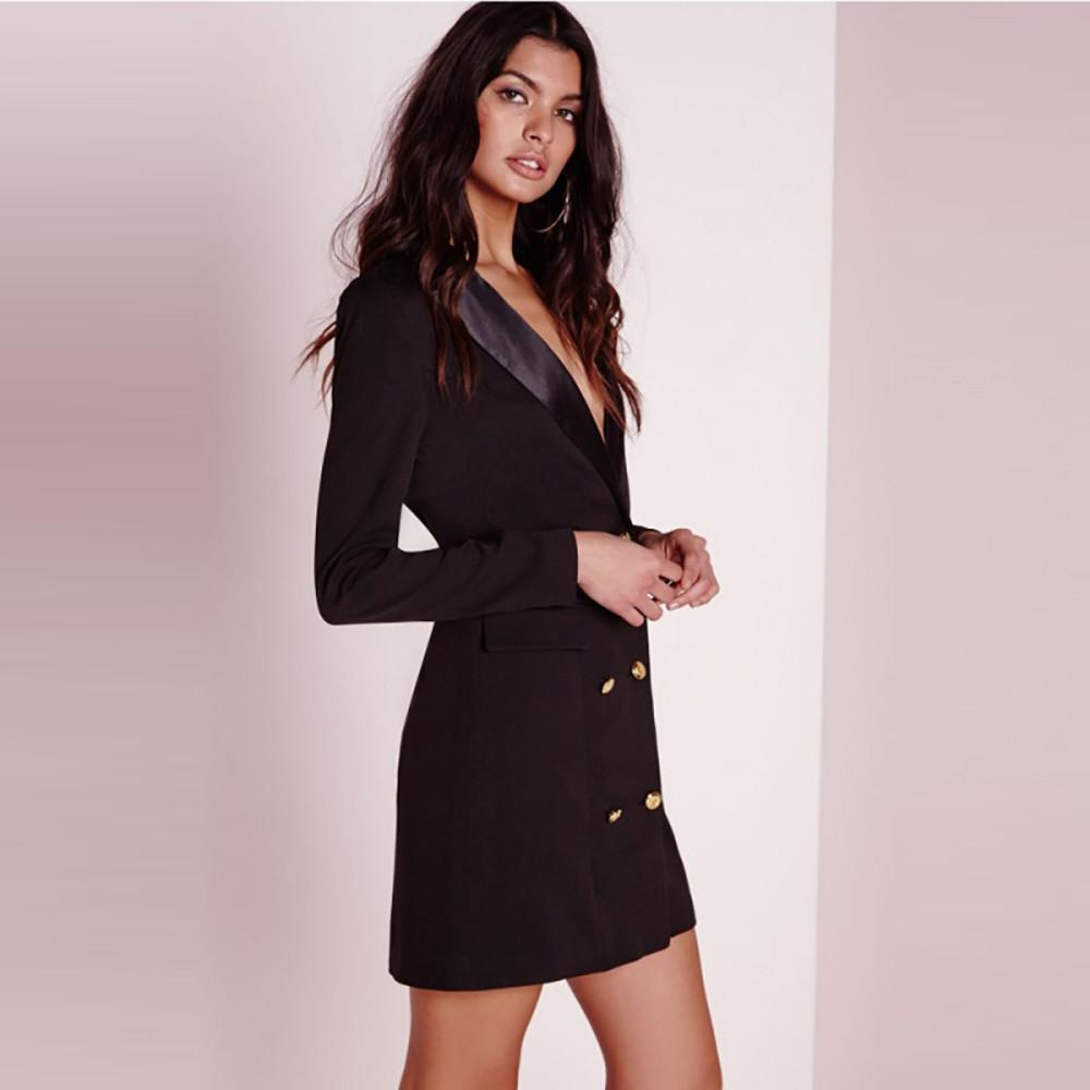 d8214d904d2e IRISIE Apparel Black Sexy Brief Women Blazer Dress Suit Autumn Double  Breasted Chic Female Dress Office