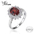 JewelryPalace Princess Diana 3.4ct Natural Red Garnet Ring 925 Sterling Silver Ring Women Fashion Luxury Natural stone Jewelry