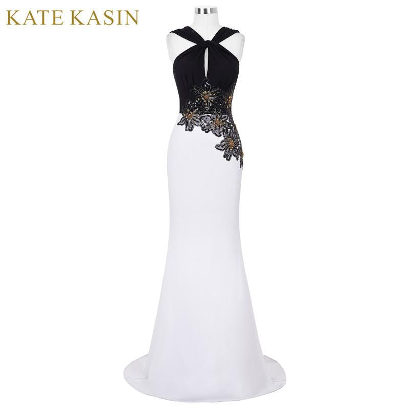 Kate Kasin White Mermaid Evening Dresses Long Formal Dress With