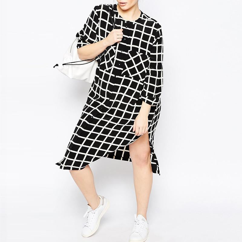 Kissmilk 2016 Women Plus Size Boy Friend Style  Big Large Size Double Pockets Plaid  Long Sleeve Side Split Shirt Dress