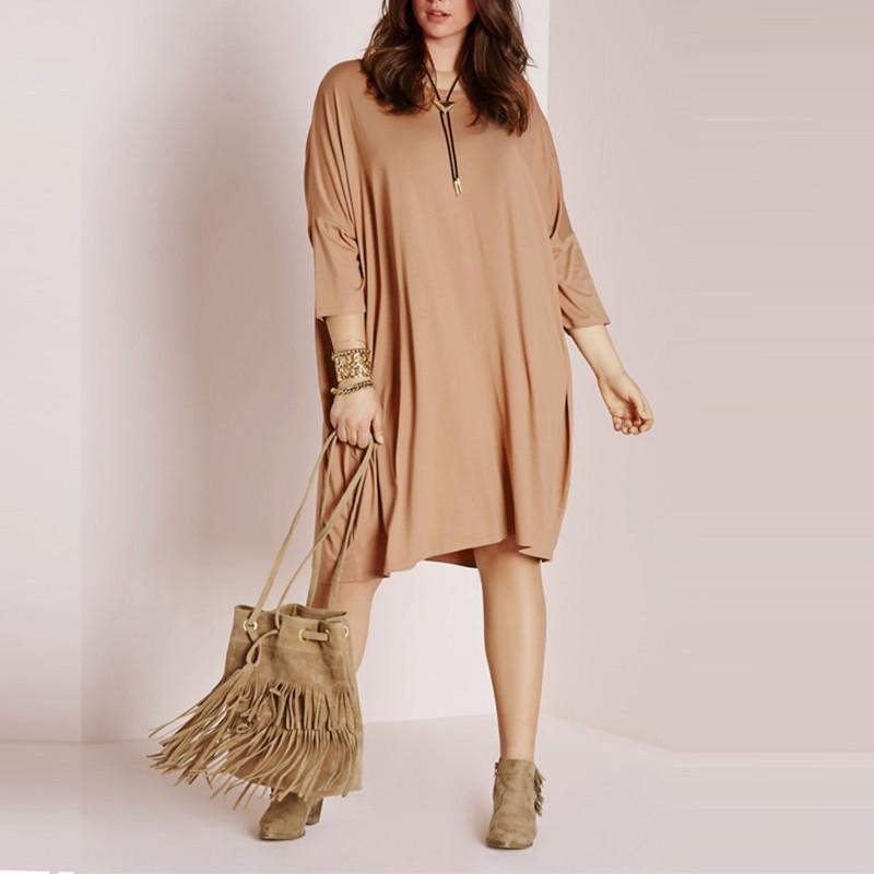 Kissmilk 2016 Women Plus Size Fashion Dress Three Quarter Loose Leisure Blouse  Big Large Size 3XL 4XL 5XL 6XL One-piece Dress