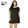 Kissmilk Big Size Fashion Women Clothing Casual Basic Solid Dress O-Neck Stripe Comfortable Dress Plus Size Dress 4XL 5XL 6XL