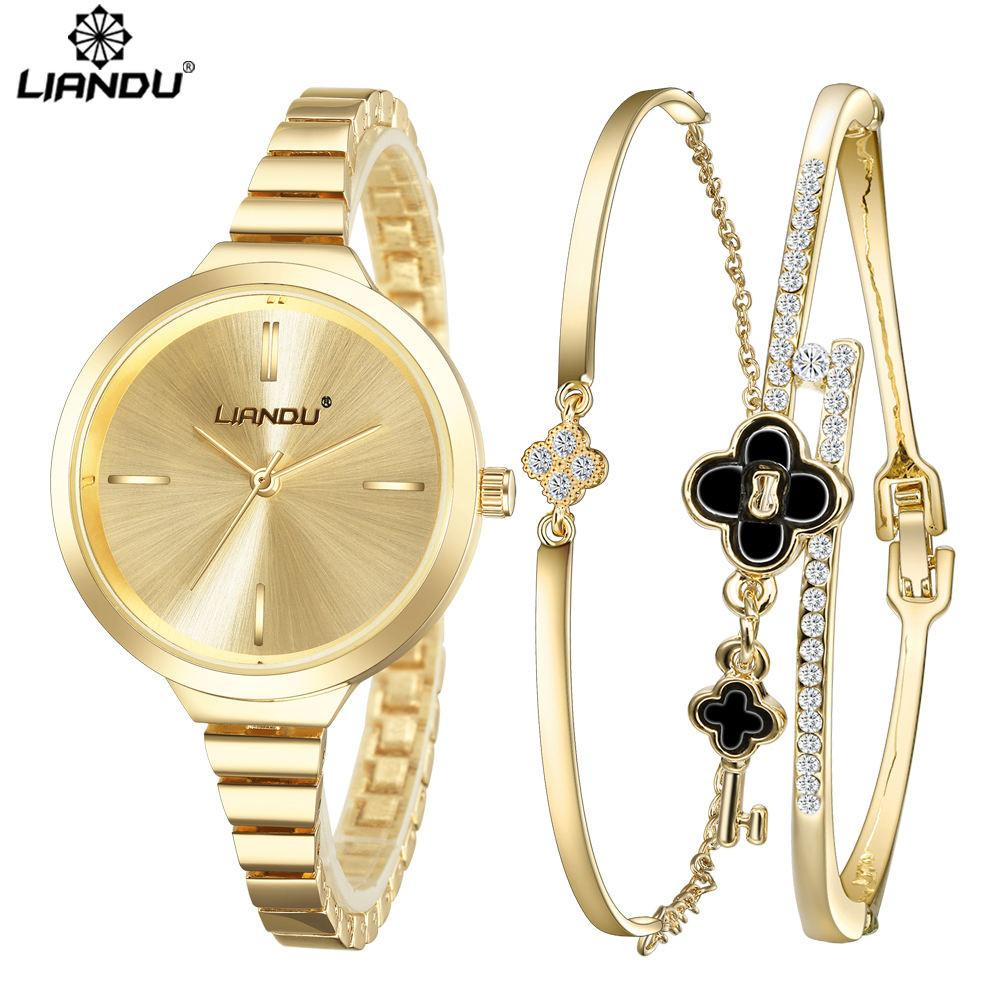 b613e0db738f0 LIANDU Top Brand Women casual Watch Jewelry Quartz Bracelet Watch Set  ladies Dress Minimalist Gold Wristwatch relogios feminino