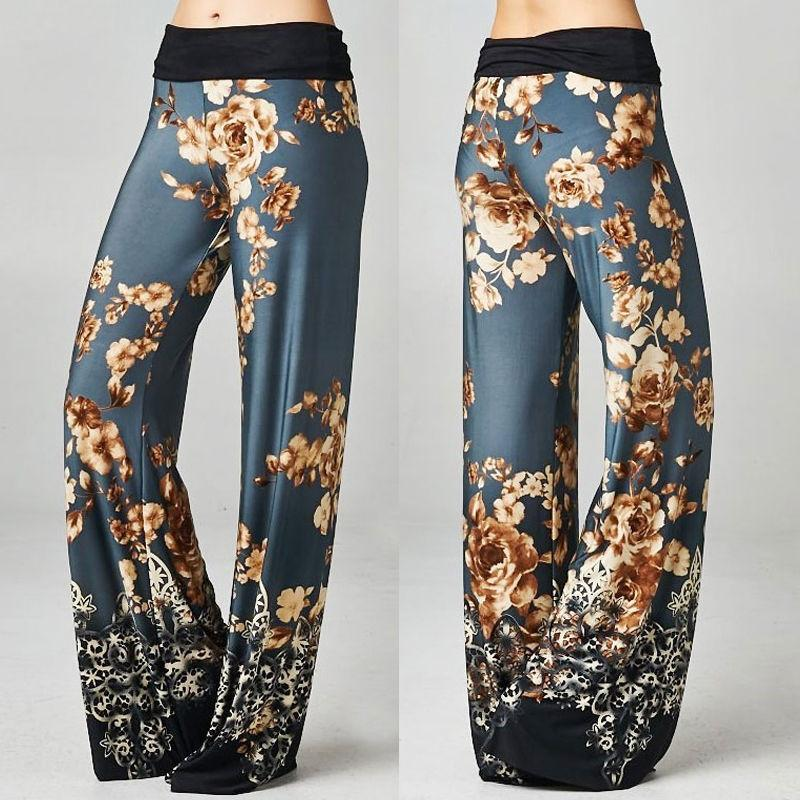 Ladies Floral Print Wide Leg Pants Pallazo Trousers Womens Pant Loose High Waist 2017 Summer