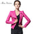Leather Jacket Women Jaqueta De Couro Women's Short Suede Faux Leather Motorcycle Biker Rose Red Black Coat Veste En Cuir Femme