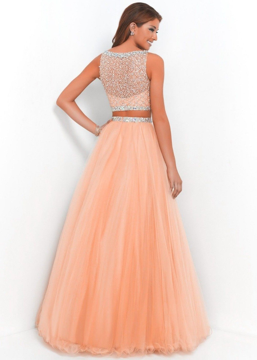 Long Orange Two Piece Prom Ball Dress Women Bead Tulle Formal ...