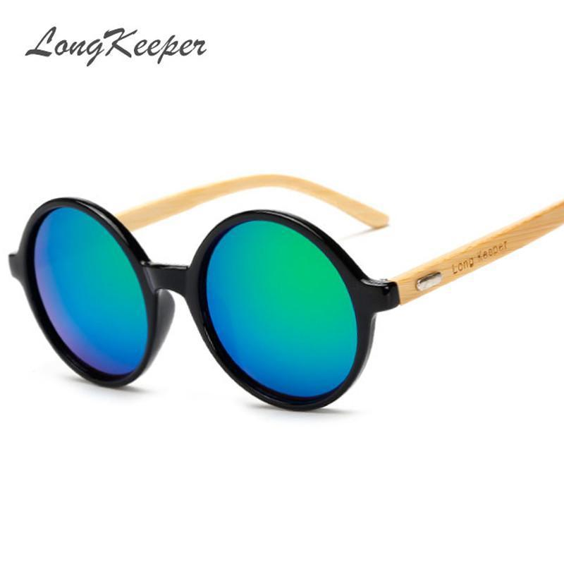 """LongKeeper"" Letter New Products Men Women Sun Glasses Bamboo Sunglasses Retro Vintage Wood Lens Wooden Frame Handmade Round - Jetcube"