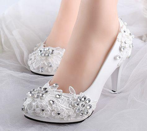 Low high heels bridal wedding shoes white rhinestones lace wedding pumps  shoe for spring summer bridesmaid 2950d84f85ea