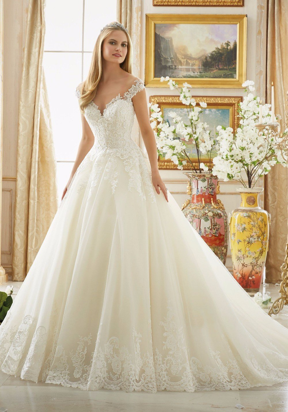Luxury Ball Gown Wedding Dresses 2017 Cap Sleeves with Sheer Back ...