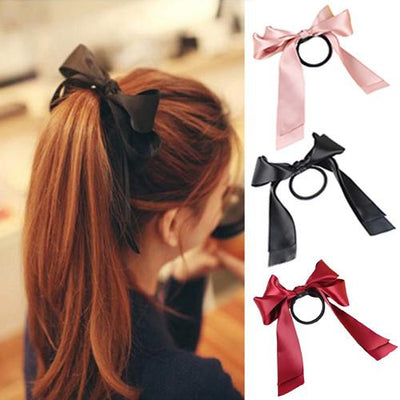 MOONBIFFY Lackingone 1X Women Tiara Satin Ribbon Bow Hair Band Rope Scrunchie Ponytail Holder 8 Color Hot