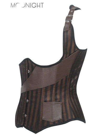 MOONIGHT 2017 Sexy Steel Boned Corset Harness Underbust Waist Corsets Bustier Brown Steampunk Leather Corset