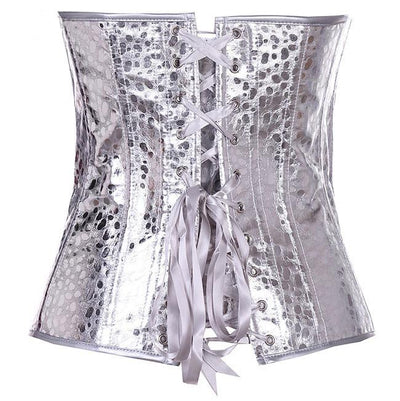 MOONIGHT Fashion Lingerie overbust Silver Shiny Zipper sexy Corset top waist corsets and bustiers