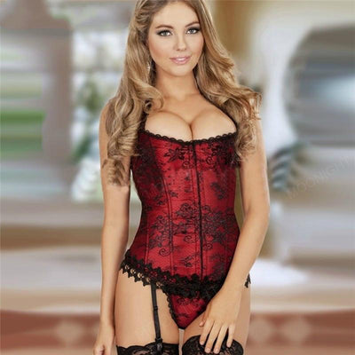 MOONIGHT Sexy Women Pattern Boned Corset Bustiers Burlesque corset top Overbust Costume corsets with G-string