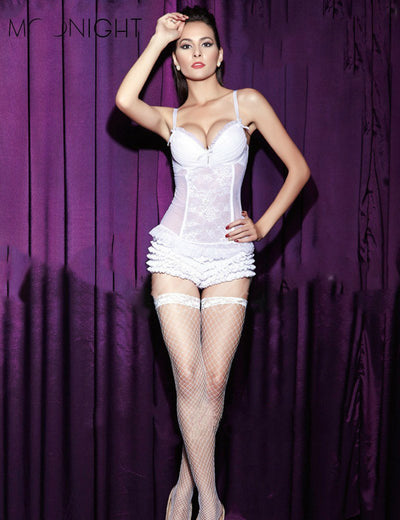 MOONIGHT White Sexy Women Wedding Bride Lace Corset Bustier Tops Corpete Plus size Free Shipping