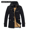Manvelous Long Winter Coats Men European Style Casual Solid Slim Pockets Cotton Blends Lapel Thick 5 XL Mens Overcoats Jackets