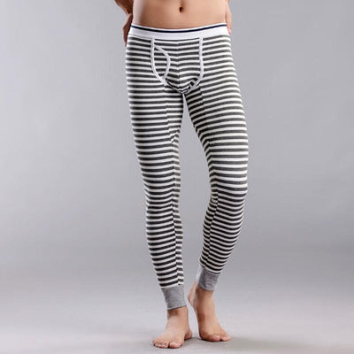 7aa560628b3667 Men's Cotton Thermal Striped Underwear Long Johns Ankle-length Skinny Pants  Mid-Rise Leggings