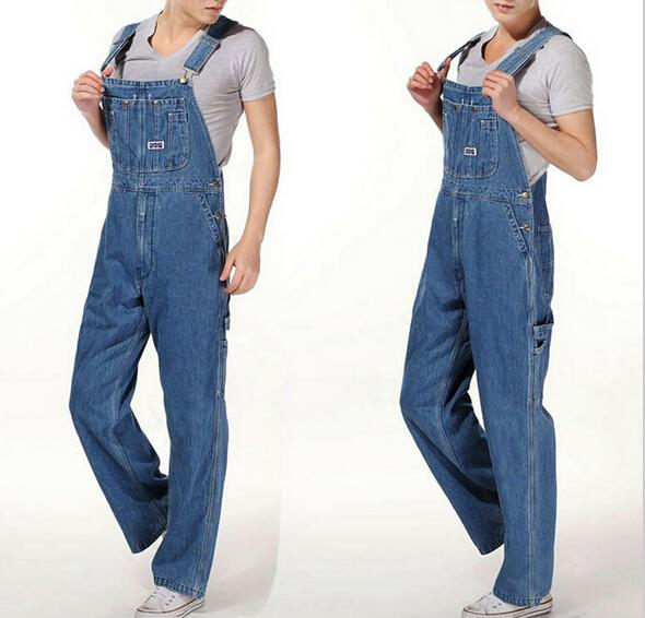 d14d027c3e4 Men s casual loose bib overalls Male plus large size 28-42 denim jumpsuits  Huge pants