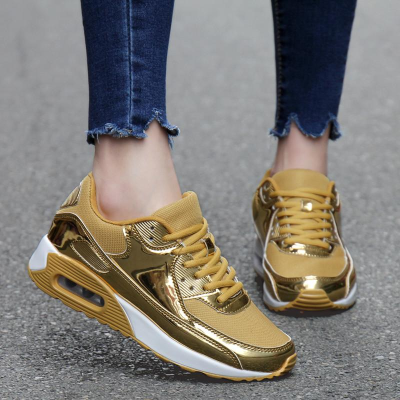 Mens Running Shoes PU Leather Sport Shoes Solid Flat Comfortable Breathable Basket Superstar Trainers Zapatillas Hombre Gold