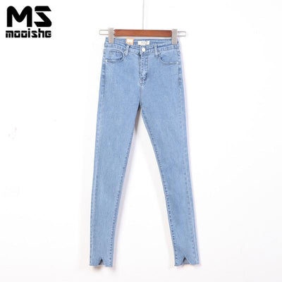 Mooishe Spring Casual Women Pencil Jeans High Waist Hole Legs SolidSlim Women Denim Pants Long Jeans Bottom