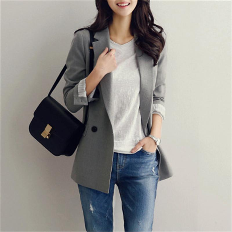 Neploe Korean Causal Woman Blazer 2017 Single Button Long Sleeves Solid Jackets Fashion Office Work Wear Slim Blazers 33167